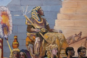 Auftragsmalerei Galerie Göldner: Bau der Pyramide. Der Pharao