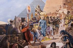 Auftragsmalerei Galerie Göldner: Bau der Pyramide. Ankunft des Pharaonen