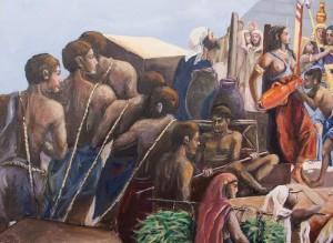 Auftragsmalerei Galerie Göldner: Bau der Pyramide. Arbeiter mit Steinen