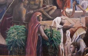 Auftragsmalerei Galerie Göldner: Bau der Pyramide. Bambusträgerin