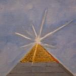 Auftragsmalerei Galerie Göldner: Bau der Pyramide. Pyramidenspitze