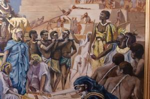 Auftragsmalerei Galerie Göldner: Bau der Pyramide. Sänftenträger