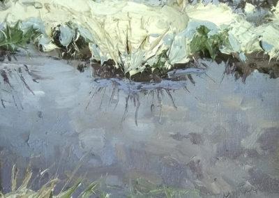 Tümpel im Winter, 24x60 cm, Dyptichon Teil 1