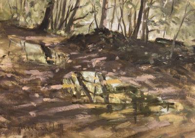 Waldweg mit Pfützen, 40x50 cm