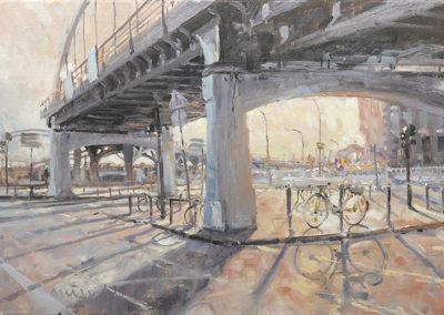An der Binnenhafenbrücke, 50x70. Öl auf Leinwand