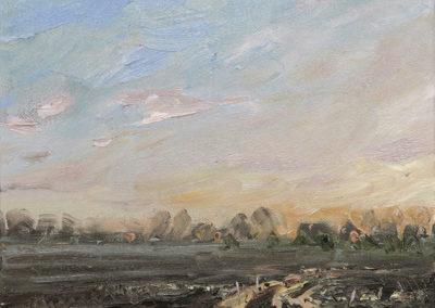 Mathias Meinel: Feld im Abendlicht II, 24x30 cm