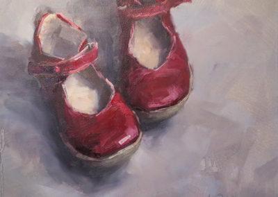 Kleine rote Schuhe, Öl auf Leinwand, 33 x 32 cm