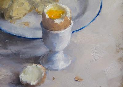 Frühstücksei, Öl auf Leinwand, 22 x 20 cm