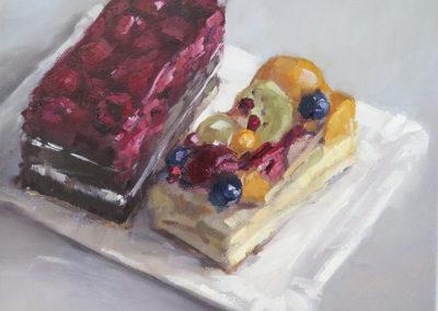 Zwei Kuchen, Öl auf Leinwand, 21 x 25 cm