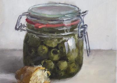 Oliven, Öl auf Leinwand, 24 x 23 cm