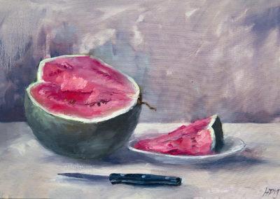 Wassermelone (nach Slevogt), Öl auf Leinwand, 43 x 53 cm