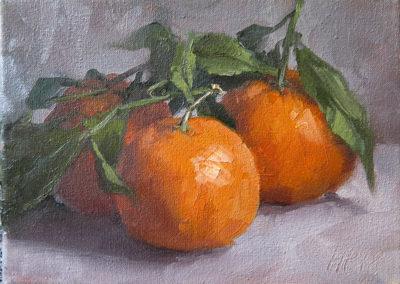Clementinen I, Öl auf Leinwand, 13 x 18 cm