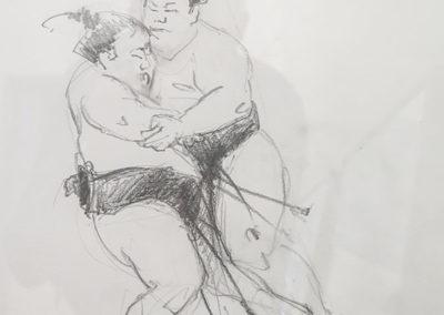 Sumoringer im Kampf I, Bleistift  auf Papier, 31 x 23 cm