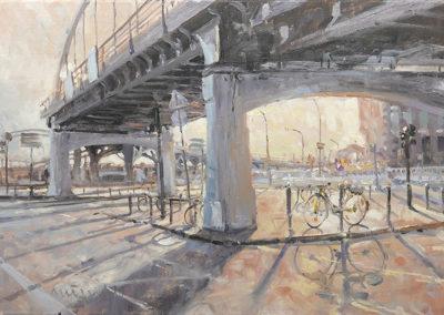Mathias Meinel: An der Binnenhafenbrücke, 50 x 70 cm