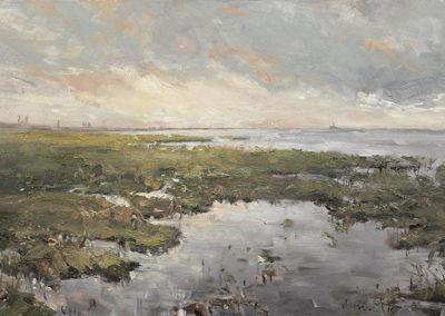 Mathias Meinel: Salzwiesen Friedrichskoog 60x100 cm