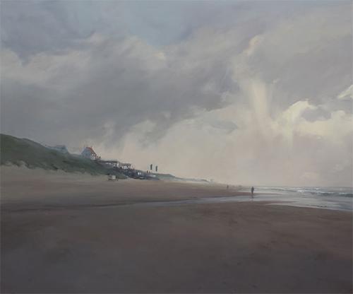 Abziehender Regen, Öl/Leinwand, 100x120 [cm]