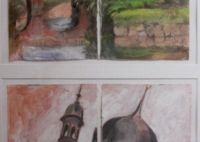 Brigitta Borchert, Schloßgraben und Schloßtürme, zusammen im Rahmen 100x 70 cm