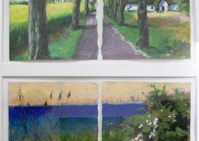 Brigitta Borchert, Kastanienallee und Strandpromenade , zusammen im Rahmen 100 x 70 cm