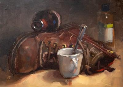 Thomas Ruckstuhl, Brunch, Öl auf MDF, ca. 30x 40 cm