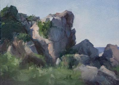 Hanna Petermann, Felsen, Öl auf Leinwand, ca. 18 x 24 cm