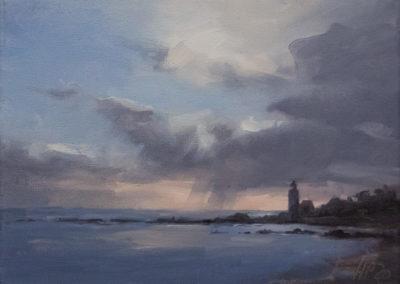 Hanna Petermann, Bucht im Abendlicht, Öl auf Leinwand, ca. 18 x 24 cm