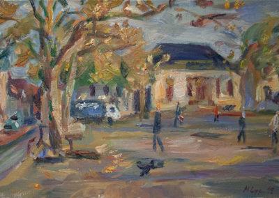 Maike Lipp, Marktplatz, Öl auf Leinwand, ca. 40 x 70 cm