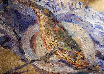 Maike Lipp, Hering und blaues Tuch, Öl auf Leinwand, ca. 35 x 40 cm