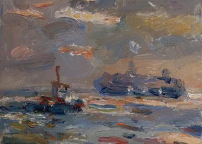 Maike Lipp, Schiffe auf der Elbe, Öl auf Leinwand, ca. 29 x 35 cm.