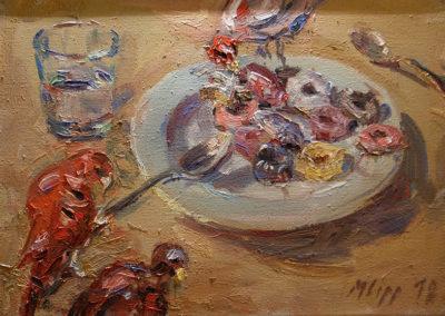Maike Lipp, Teller mit Papagei, Öl auf Leinwand, ca. 35 x 50 cm