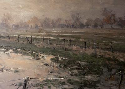 Mathias Meinel, Abend in der Marsch, Öl auf Leinwand, ca. 37 x 80 cm