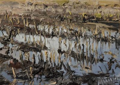 Mathias Meinel, Feld VI, Öl auf Leinwand, ca. 24 x 30 cm