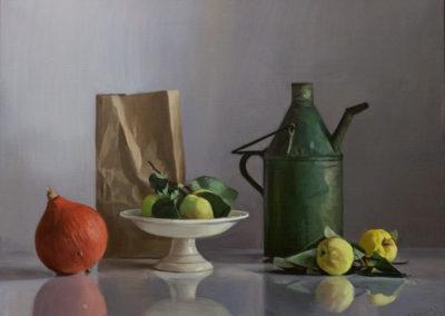 Till Warwas, Stillleben mit Ölkanne, Acryl auf Leinwand, ca. 50 x 70 cm