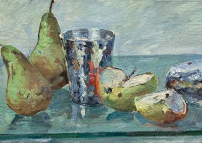 Tobias Duwe, Stillleben mit Birnen, Öl auf Leinwand, ca. 20 x 40 cm