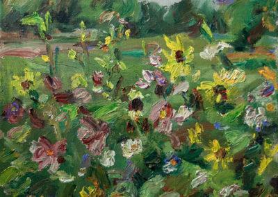 Maike Lipp, Sommerwiese, Öl auf Leinwand, ca. 34 x 40 cm