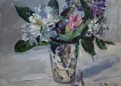 Tobias Duwe, Kleiner Blumenstrauß, Öl auf Leinwand, ca. 24 x 30 cm