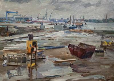 Tobias Duwe, Kiel- Blick aufs Ostufer, Öl auf Leinwand, ca. 50 x 60 cm