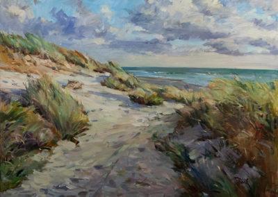 Tobias Duwe, Durch die Dünen zum Meer, Öl auf Leinwand, ca. 60 x 80 cm