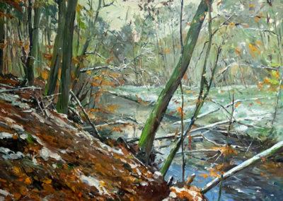 Tobias Duwe, Abhang im Winterwald, Öl auf Leinwand, ca. 70 x 90 cm
