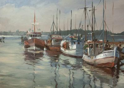 Lars Möller, Heikendorfer Hafen, Öl auf Leinwand, ca. 60 x 70 cm