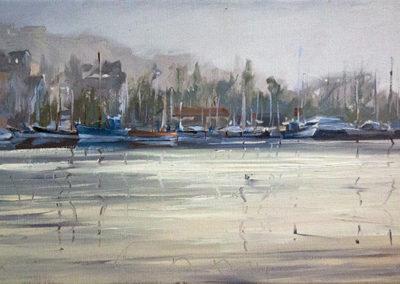 Lars Möller, Flensburg- Stadthafen, Öl auf Leinwand, ca. 30 x 60 cm