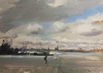 Lars Möller, Hafen - Anis, Öl auf Leinwand, ca. 35 x 50 cm
